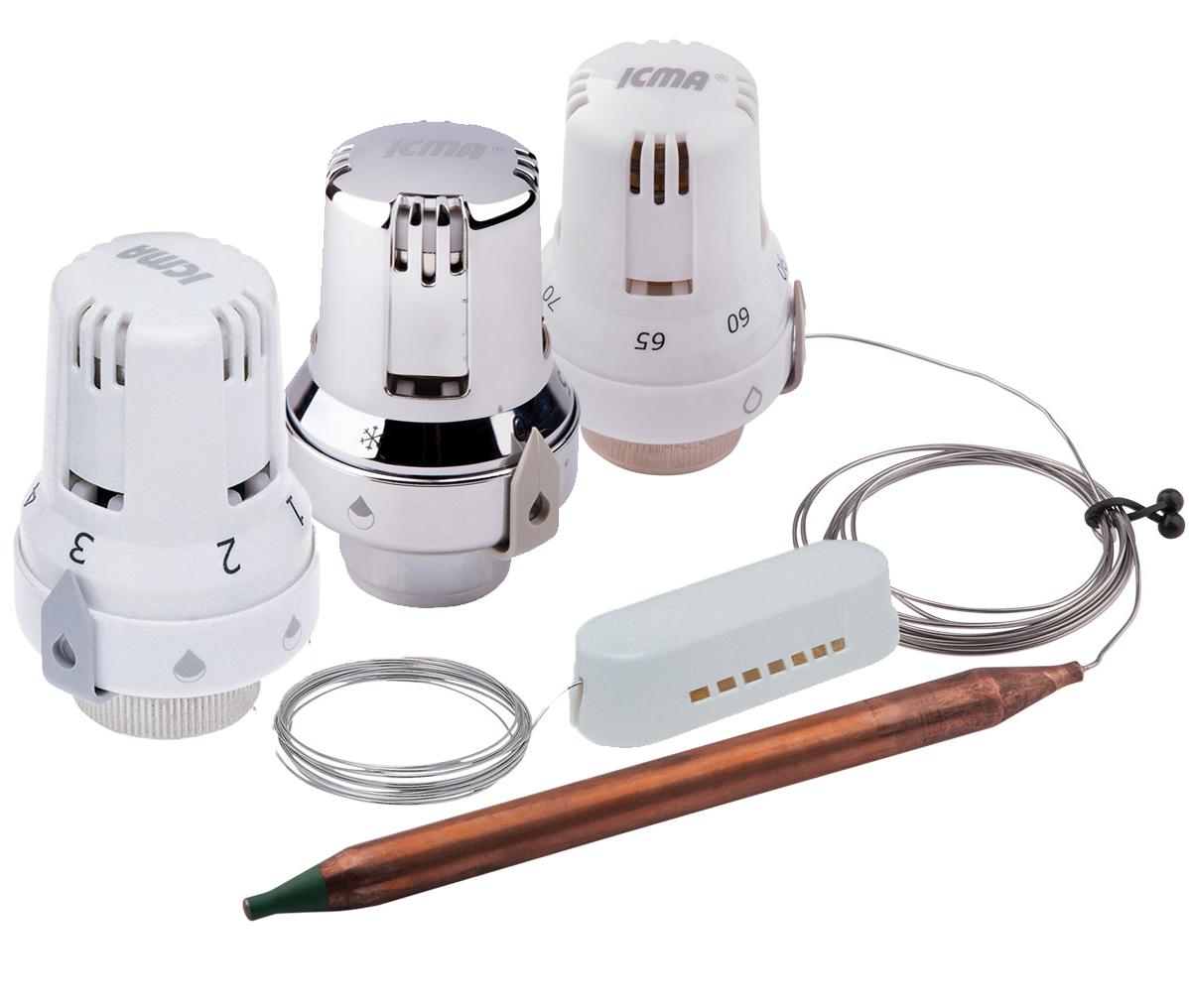 Термостатические головки, термоприводы и погружные гильзы